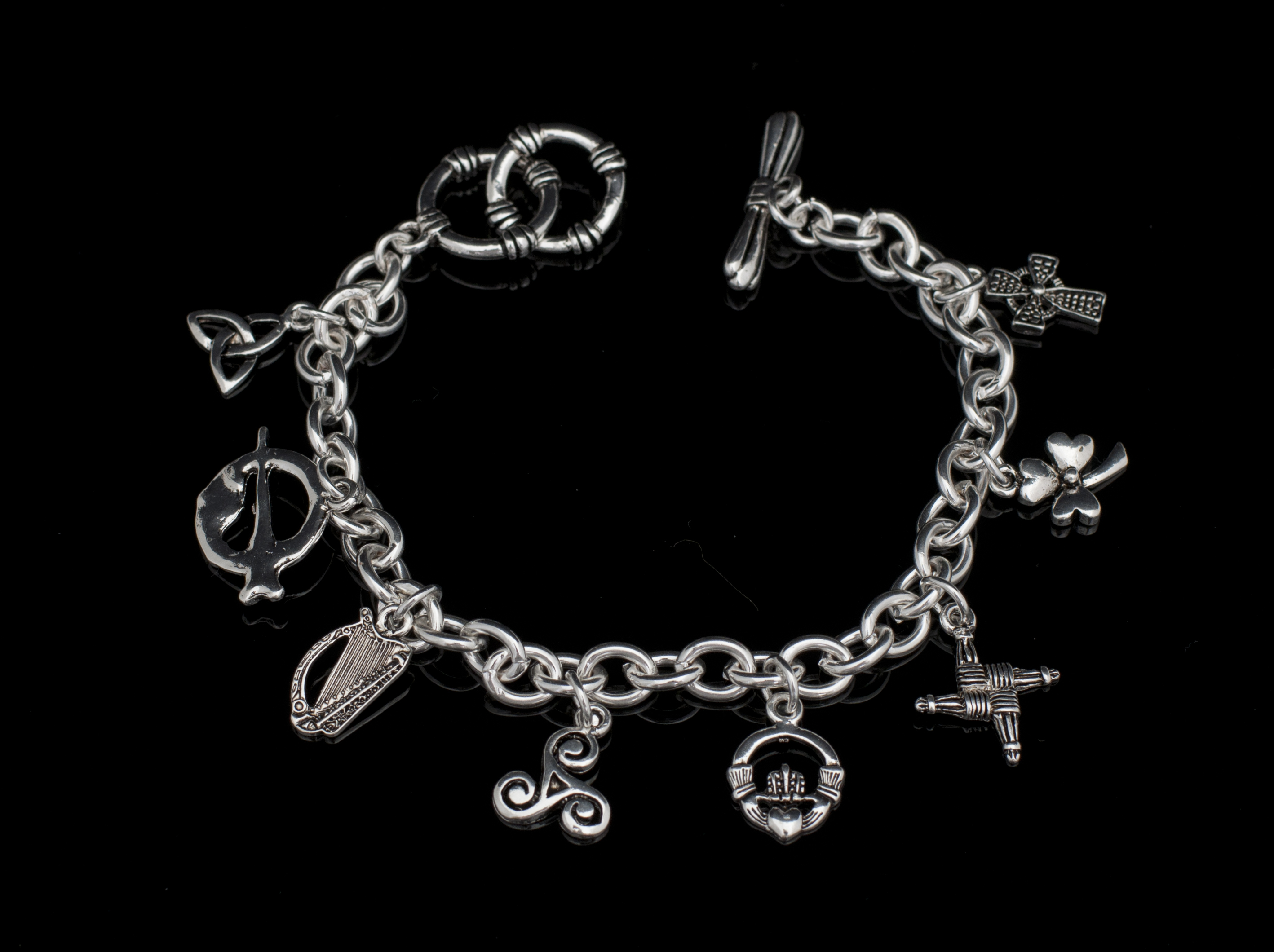 charm sterling cm inches design bangles measures with link bangle jewellery padlock x silver ornate double flower bracelet