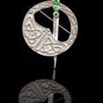 Sterling Silver Created Emerald Tara Brooch