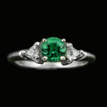 14kt White Gold Created Emerald Diamond Engagment Ring $1000