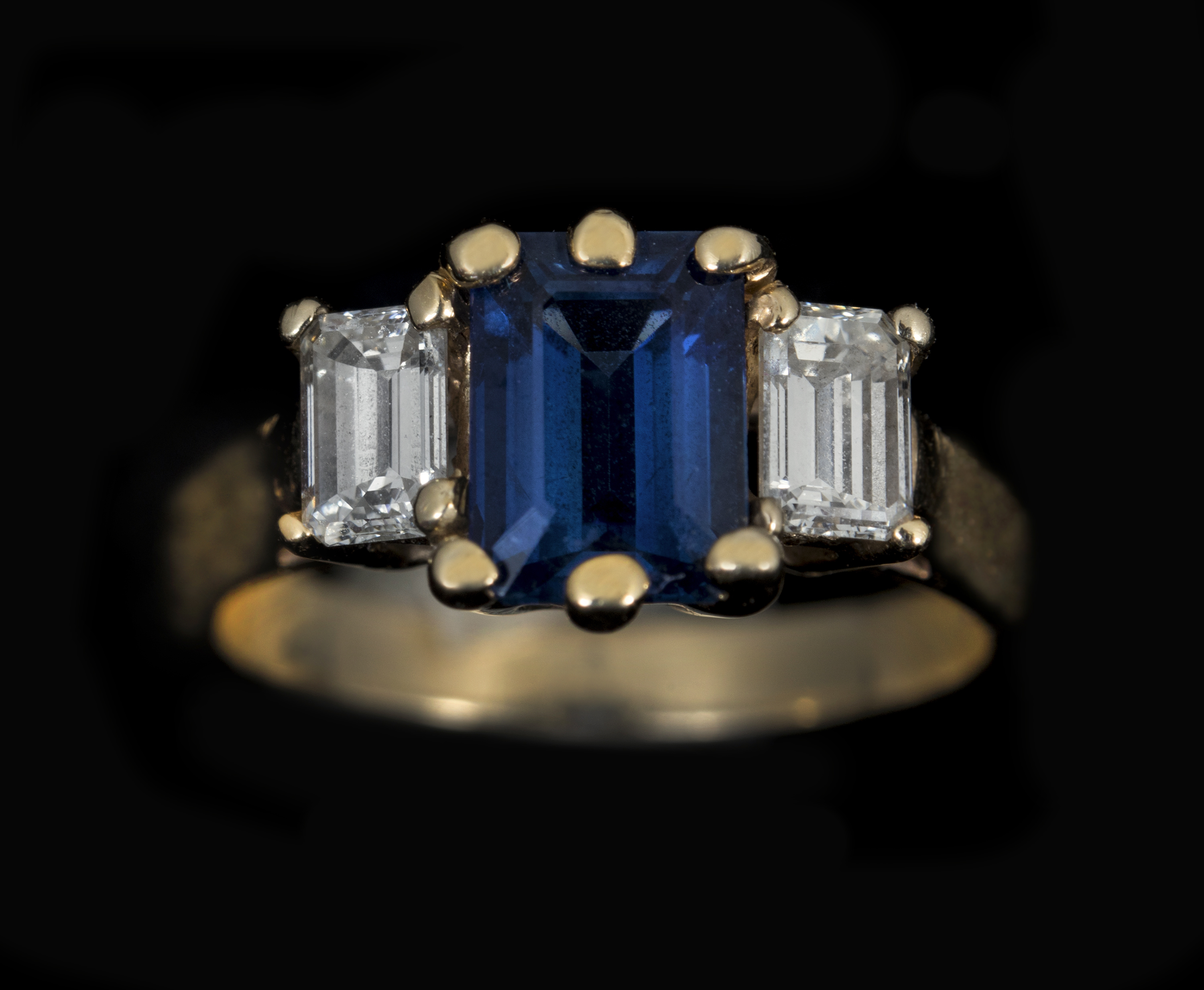 step baguette double sapphire the set a accented shank with cut ring pin grima