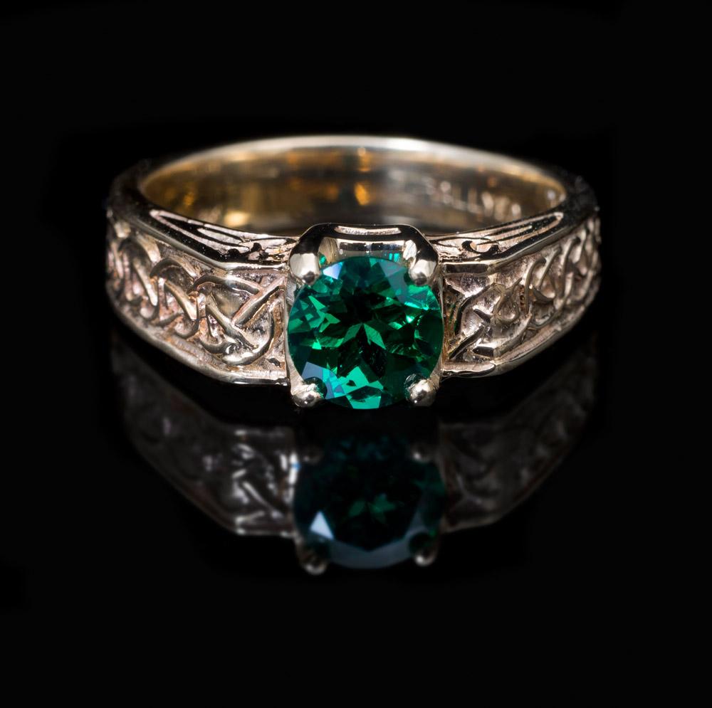 14kt chatham emerald celtic knot ring