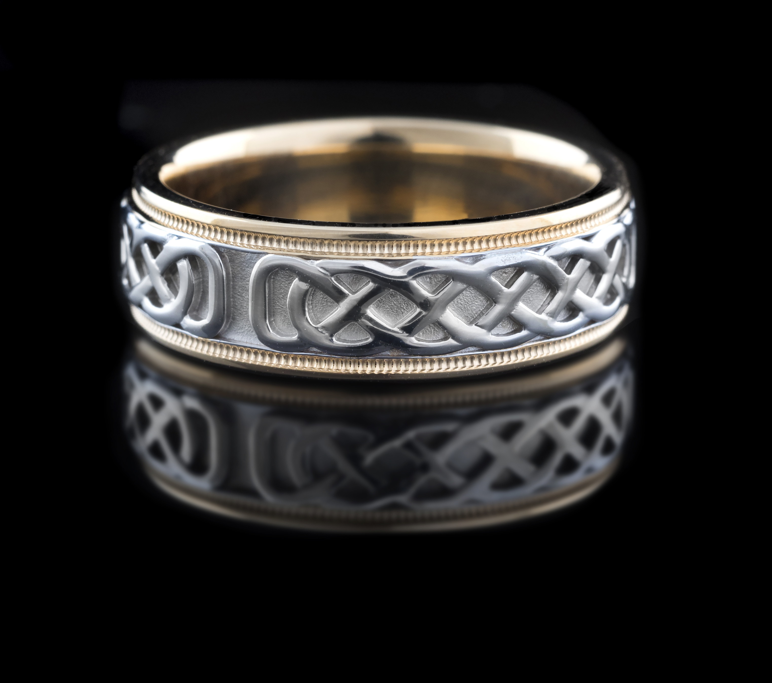 14kt Two Tone White Celtic St Michaels Love Knot Wedding Ring