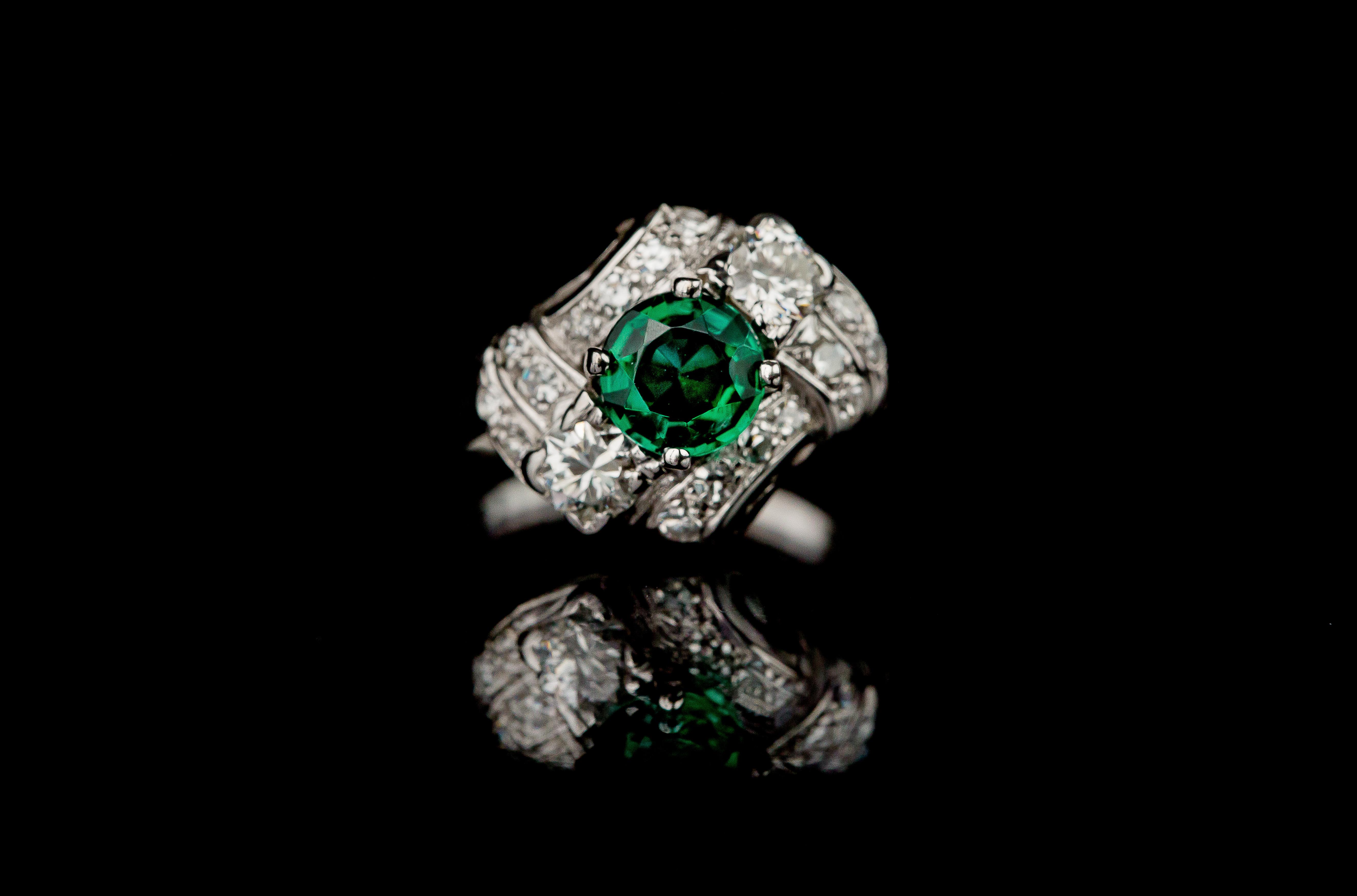 14kt Diamond Emerald Antique Ring